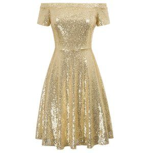 Sequin Off-Shoulder Pleated A-Line Evening Dress